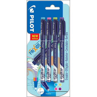 Pilot Frixion Fineliner. 1.3mm. Pack Of 4. Mixed Colours.