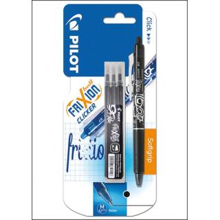 Pilot Frixion Clicker Set. 1 Black Erasable Pen & 3 Refills.