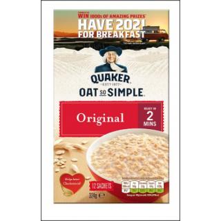Quaker Oat So Simple Original. 12 Sachets. 324g.