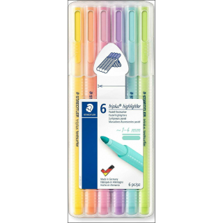 Staedtler Triplus Highlighter Pastel Set. 6 Pack (Mixed Colours).
