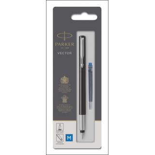 Parker Vector Fountain Pen. Refillable. Blue Ink.