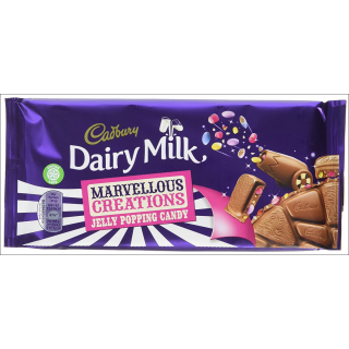 Cadbury Dairy Milk Jelly Popping Candy Large Bar. 180g.