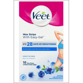 Veet Wax Strips. Sensitive Skin Bikini & Underarm. 16 Wax Strips.