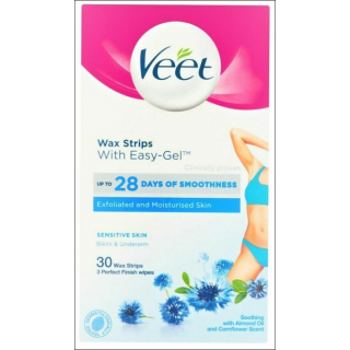 Veet Wax Strips. Sensitive Skin Bikini & Underarm. 30 Wax Strips.