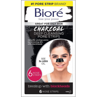 Biore Charcoal Deep Cleansing Pore Strips. 6 Strips.