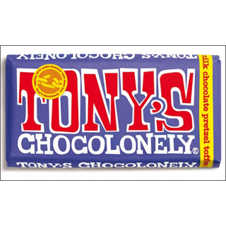 Tony's Chocolonely 42% Dark Milk Chocolate Pretzel Toffee Bar. 180g.