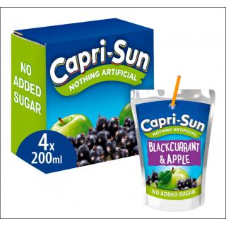 Capri-Sun Blackcurrant & Apple 4 Pack. No Added Sugar. 4 x 200ml Drinks.